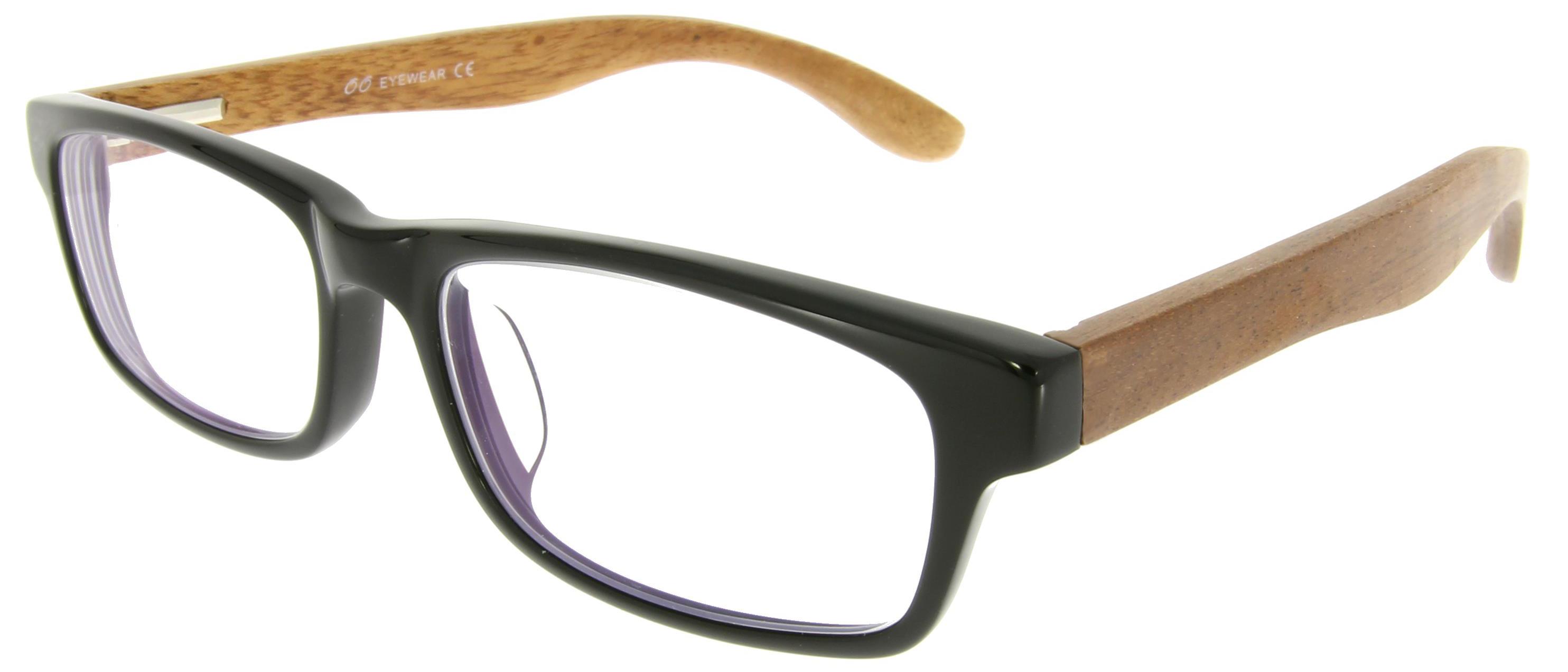 Vorschaubild von Kastenförmige Brille mit Holzbügeln