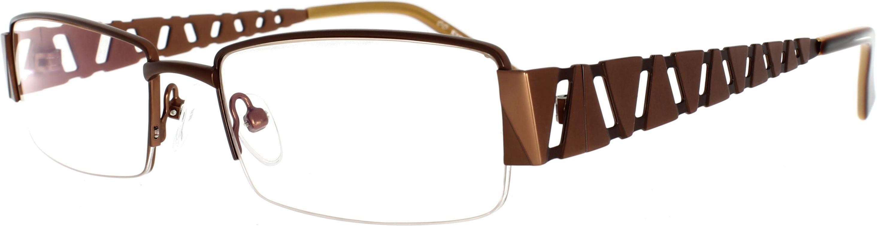 Braune Halbrand-Brille aus Metall mit auffällig...