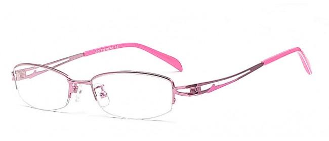 Pinkfarbene Damen Halbrandbrille - Schlichte Brillenfront
