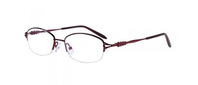 Halbrand Gleitsichtbrille aus Metall in Rot