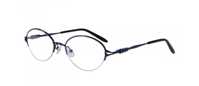 Blaue Gleisicht-Halbrandbrille aus Metall