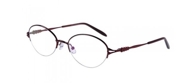 Rote Halbrandbrille aus Metall mit Federscharnier
