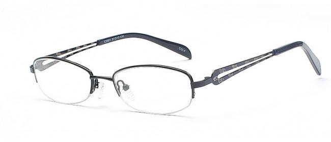 Schmale Halbrandbrille in Schwarz
