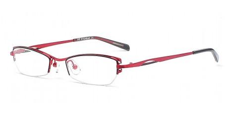 Hübsche Halbrandbrille in Rot & Schwarz