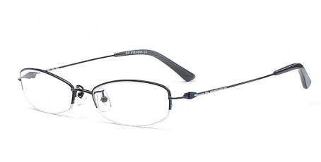 Schwarze Halbrandbrille mit dünnen Bügeln