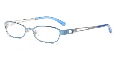 Vollrandbrille aus Metall in Blau & Silber