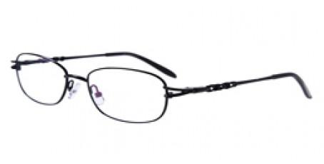 Schwarze Halbrandbrille - Muster am Bügel