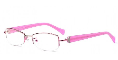 Pink gefasste Damen-Halbrandbrille