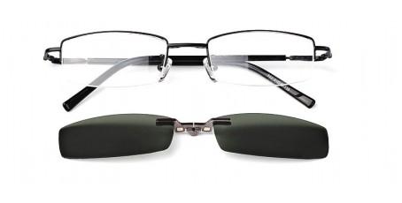 Schwarze Halbrandbrille mit Sonnenclip