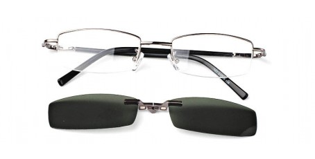 Graue Halbrandbrille-schmale Form-Sonnenclip