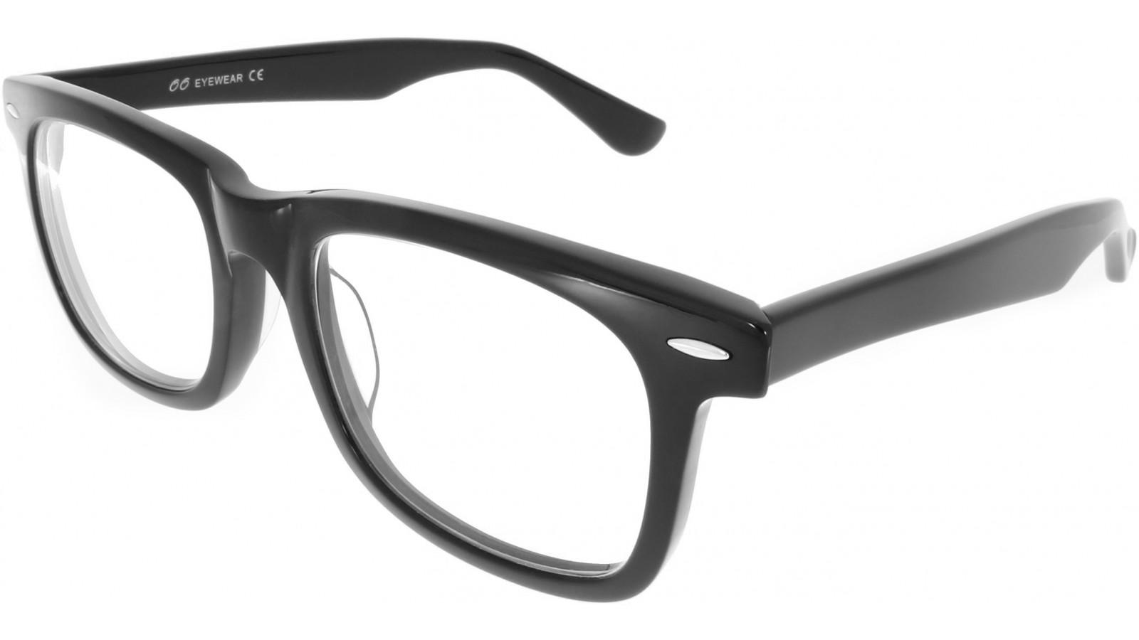 Übergroße eckige Brille im Wayfarer Stil aus Kunststoff in Schwarz ...