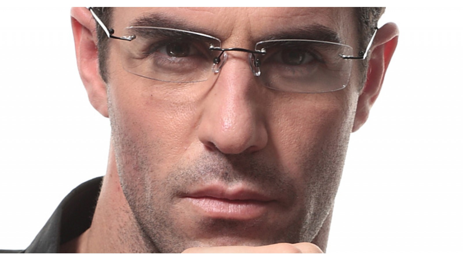 Randlose Brille-eckige Gläser-schmale Bügel