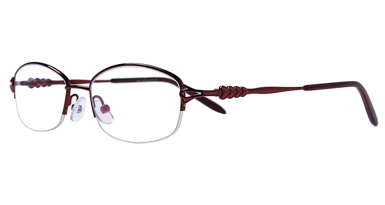 Halbrand Arbeitsplatzbrille aus Metall in Rot