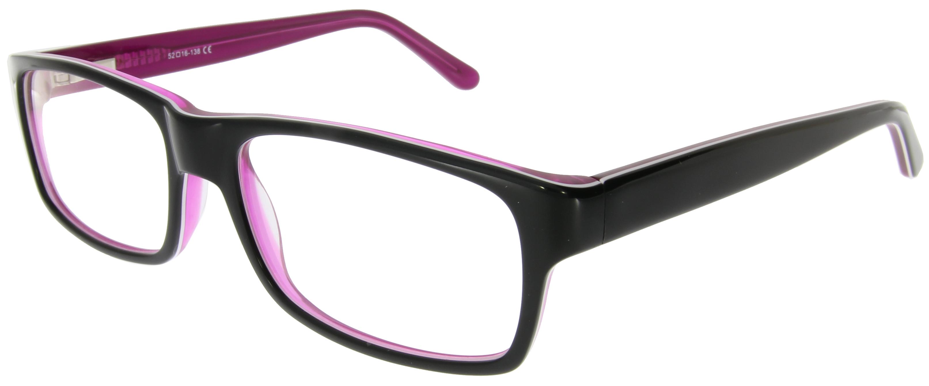Kastenförmige Brille in Schwarz und Lila