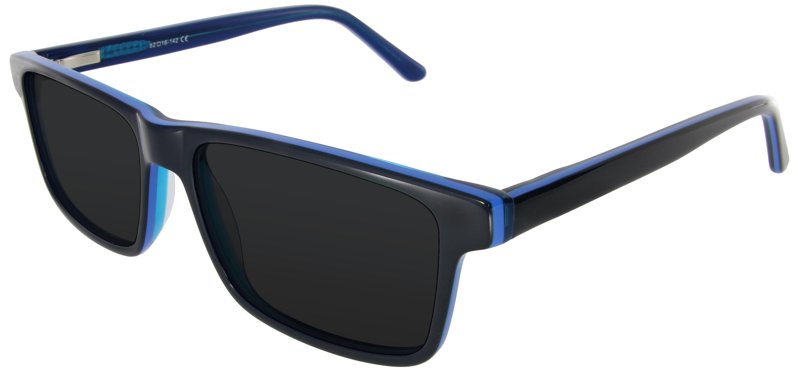 Moderne unisex Sonnenbrille in blau mit rechteckiger Form