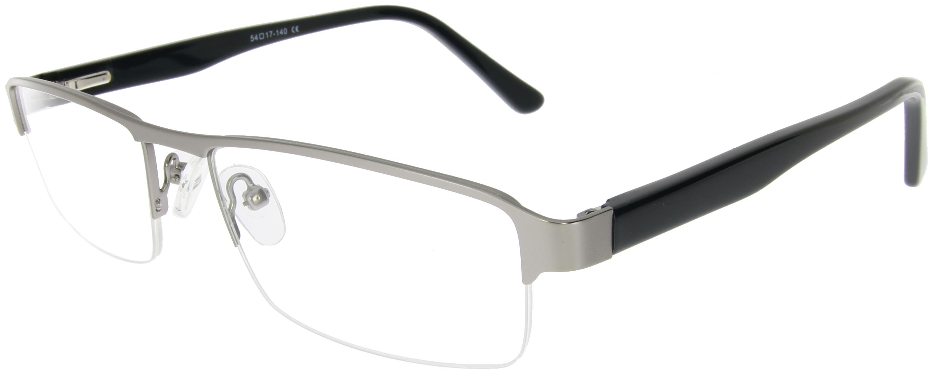 Unisex Halbrand-Gleitsichtbrille in Grau und Sc...