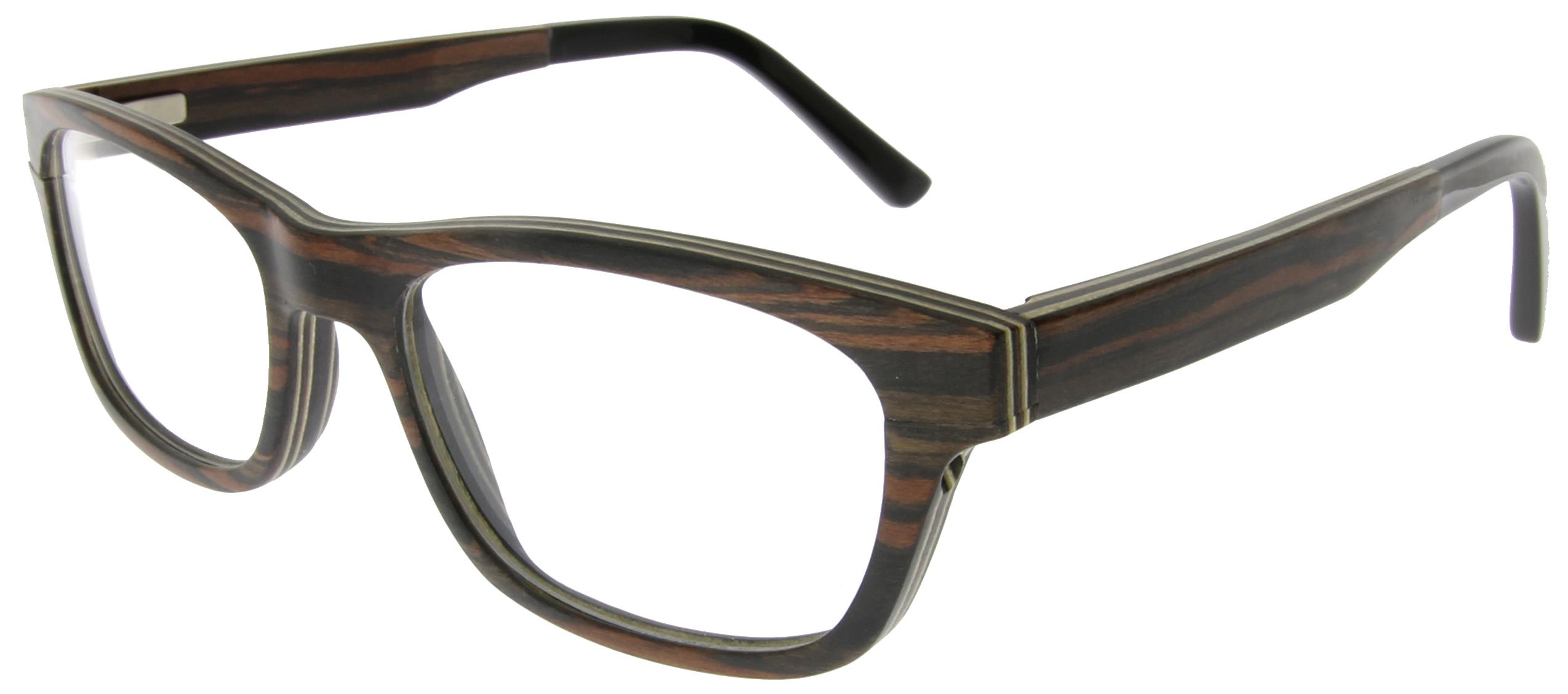 Wayfarer Brille aus rot-braunem Ebenholz