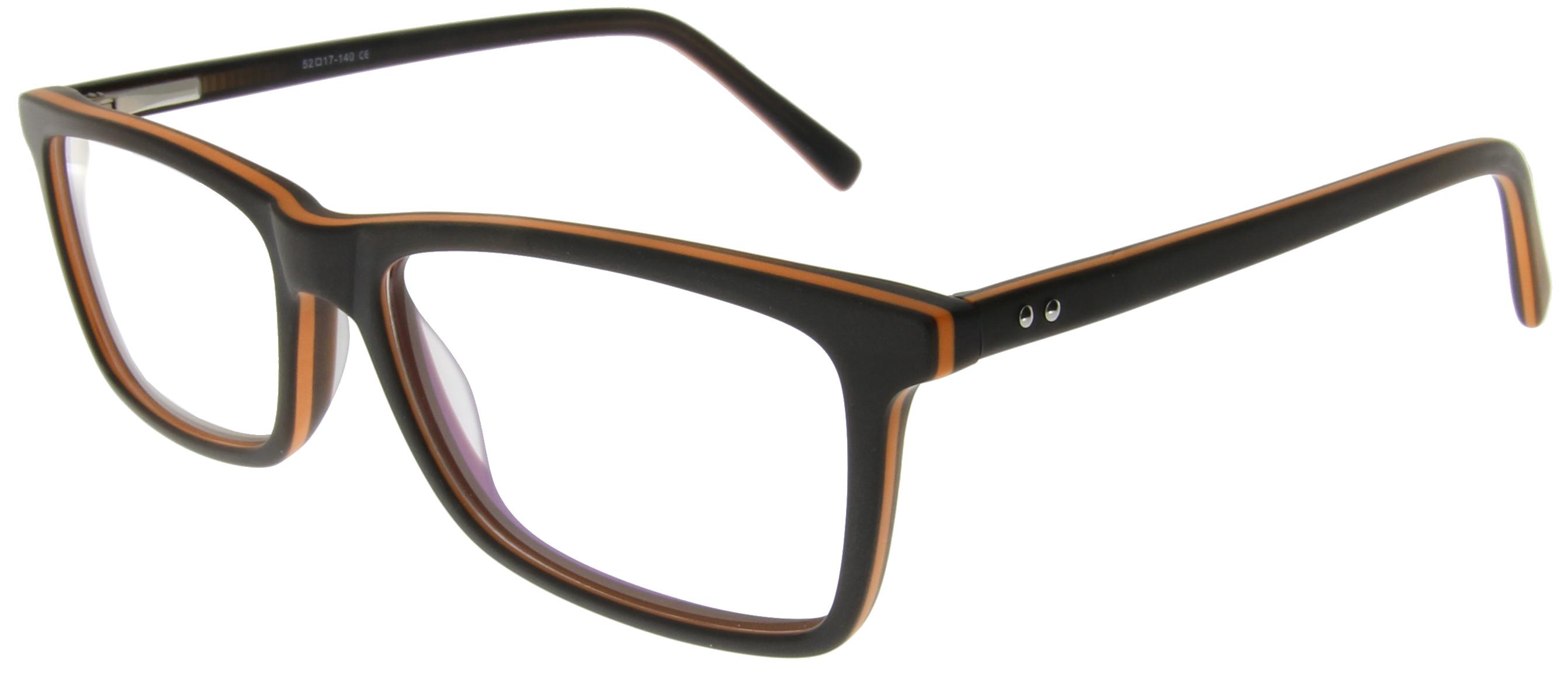 Eckige Kunststoffbrille in Orange und Schwarz