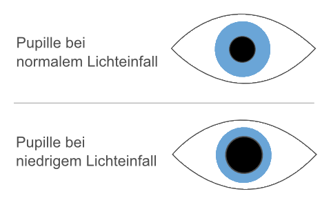 Pupille be Lichteinfall