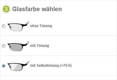 Konfiguation einer Gleitsichbrille mit Sonnenbrillengläsern